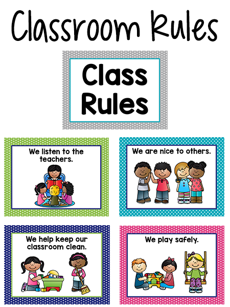 Pre-K Class Rules Posters in Bright Colors
