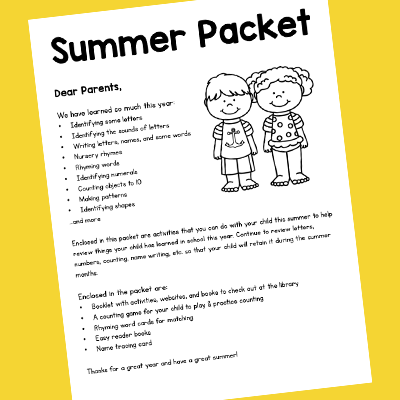 Parent Letter for the Summer Packet
