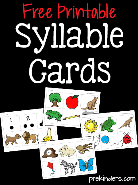 Free Worksheets preschool reading worksheets free : Printable Syllable Cards for Literacy Activities