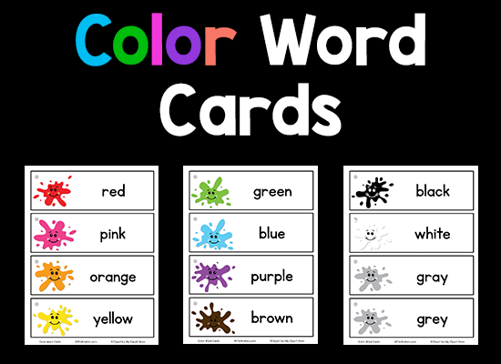 Color Word Cards - free printable from prekinders.com