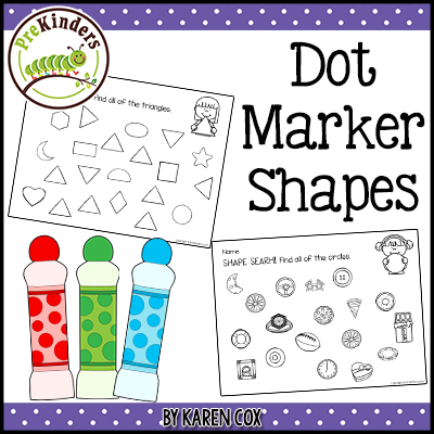 Dot Marker Shapes Game: printables to use with dot markers