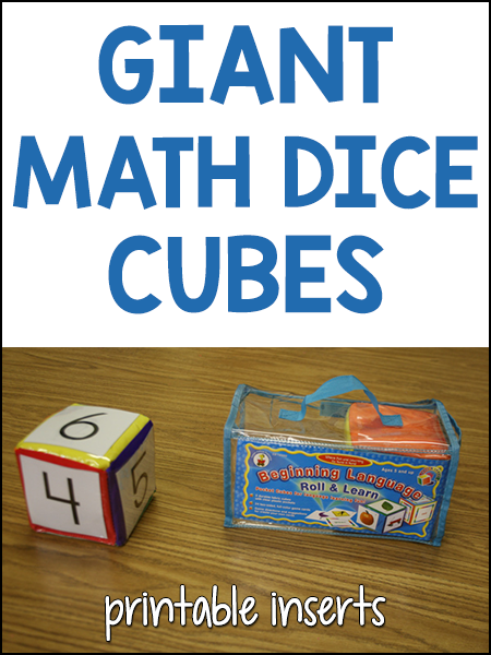 Giant Math Cube Dice with Printable Inserts