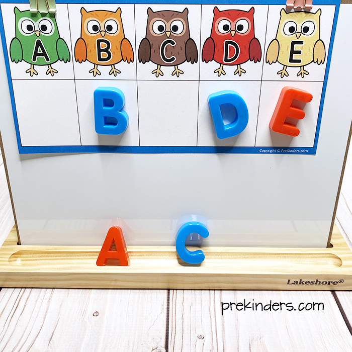 Owl Letter Tumble Game with a magnetic board