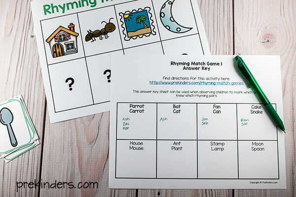 Rhyming Match Game Assessment Sheet & Answer Key