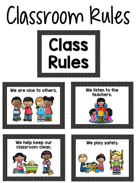 Pre-K Class Rules Posters in Black & White Dot