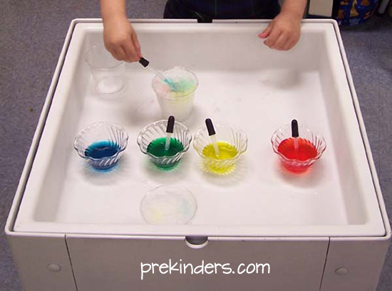 colored water and ice