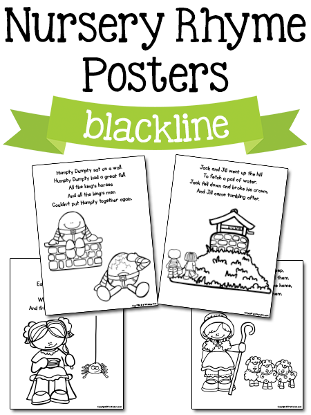 Nursery Rhyme Posters In Blackline Free Printables