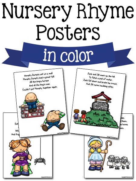 photograph regarding Printable Nursery Rhymes identified as Nursery Rhyme Printables - PreKinders