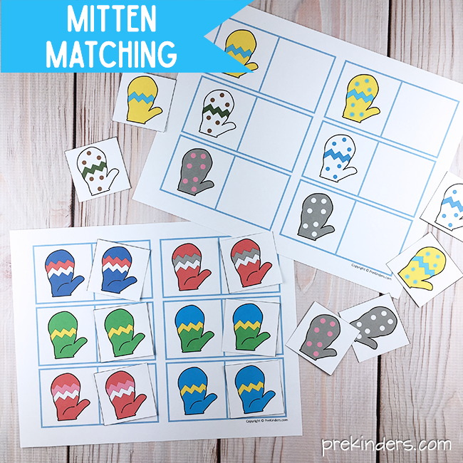 Mitten Matching Cards Printable: Winter Visual Discrimination Skills for Pre-K, Preschool
