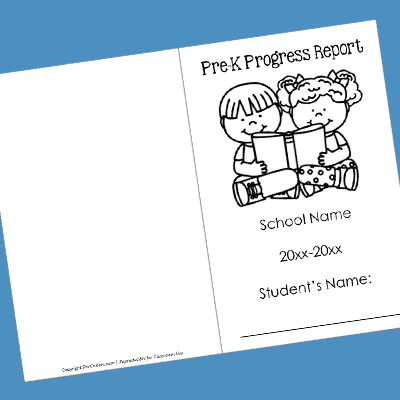 Pre-K Progress Report Cover