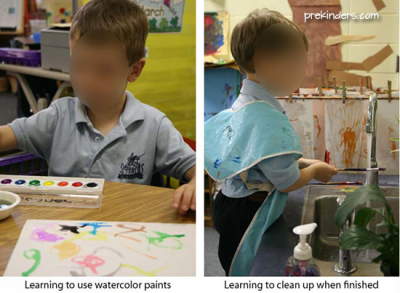 Teaching kids to use watercolor paint