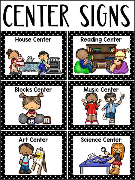 Center Signs for Pre-K, Preschool