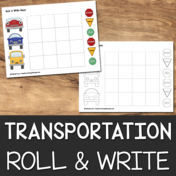 Transportation Roll & Write Game Printable