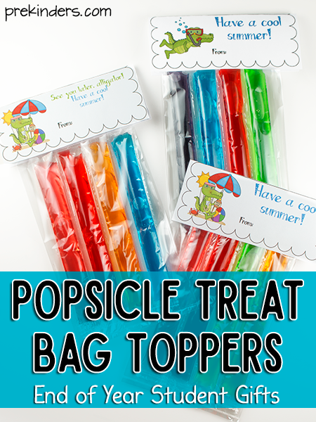 Popsicle Treat Bag Toppers for End of Year Student Gifts