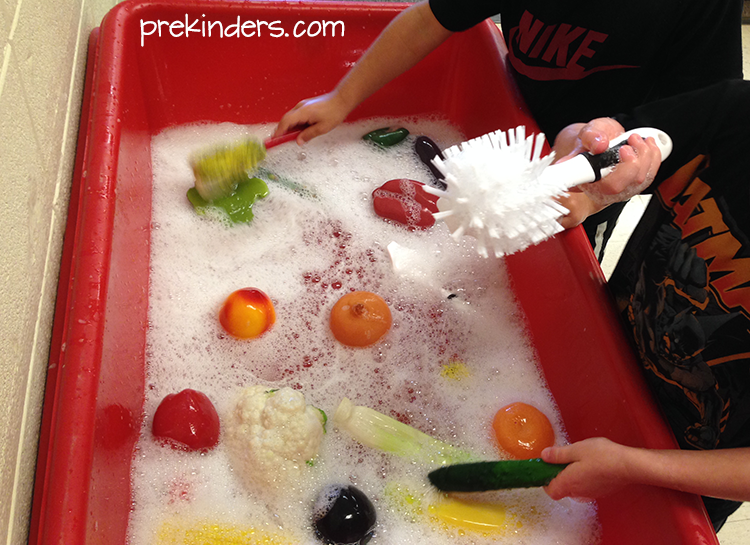Veggie Scrubbing Sensory Table Play