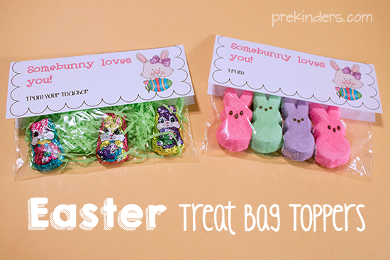 Easter treat bag toppers prekinders easter treat bag topper with bunny candy negle Image collections