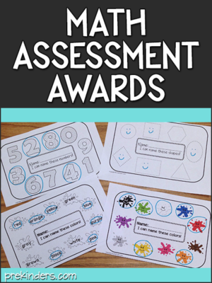 Math Assessment Awards printables