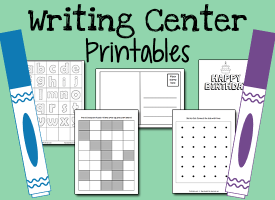 Writing Center Printables for Pre-K Kids