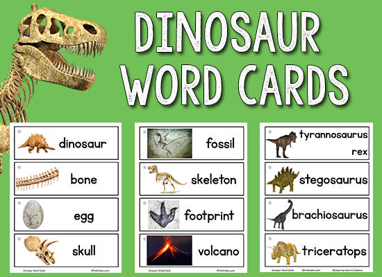 photograph regarding Printable Word Wall Cards With Pictures identified as Dinosaur Visualize-Phrase Playing cards - PreKinders