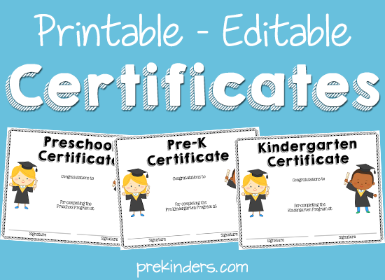 End of year activities certificates prekinders printable editable certificates for preschool pre k kindergarten yelopaper Image collections