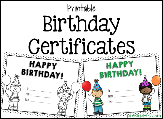 Printable Birthday Certificates