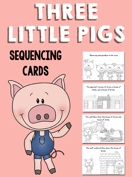 three little pigs sequencing cards prekinders. Black Bedroom Furniture Sets. Home Design Ideas