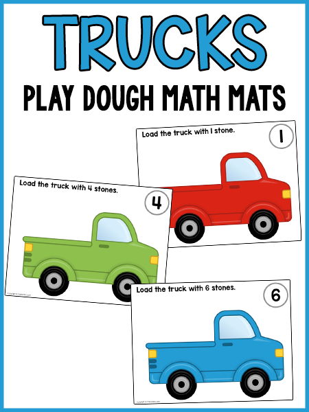 Load the Trucks Play Dough Counting Mats