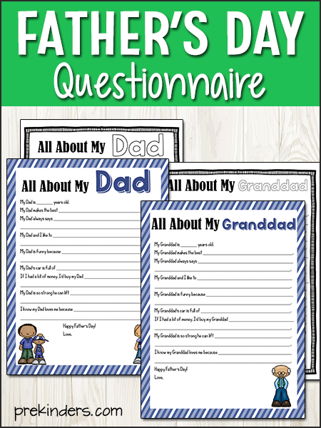 image about Dad Questionnaire Printable titled Fathers Working day Pursuits for Young children - PreKinders