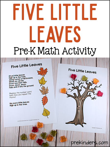 Five Little Leaves: Pre-K Math Activity