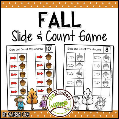 Fall Slide & Count Game: Helps kids practice counting with one to one correspondence.