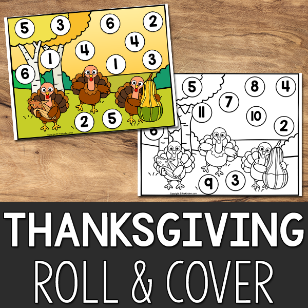 Thanksgiving Roll & Cover Game: Math Printable