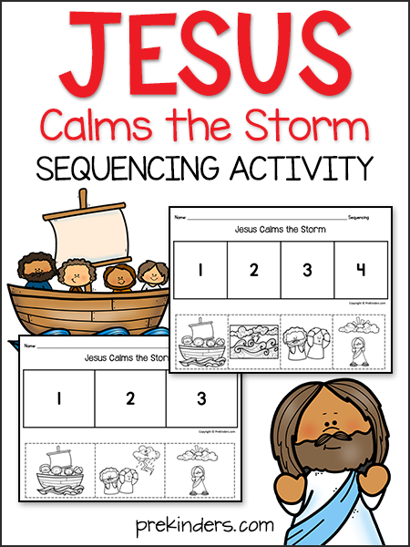 Jesus Calms Storm Bible Story Sequencing Activity