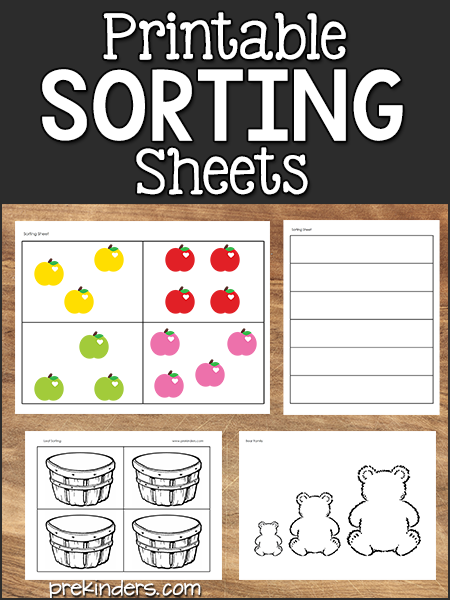 Printable Sorting Sheets for Math