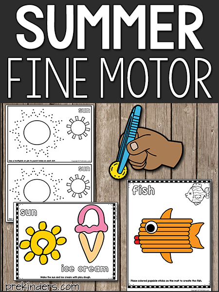 Summer Fine Motor Activities for Preschool, Pre-K