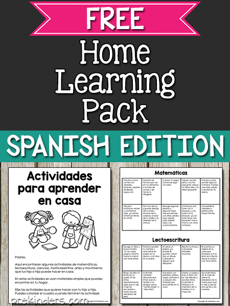Home Learning Pack Spanish Edition (Preschool, Pre-K)