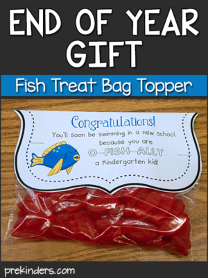 End of Year Gift Treat Bag Topper Fish