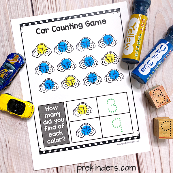 Car Counting Game Printable
