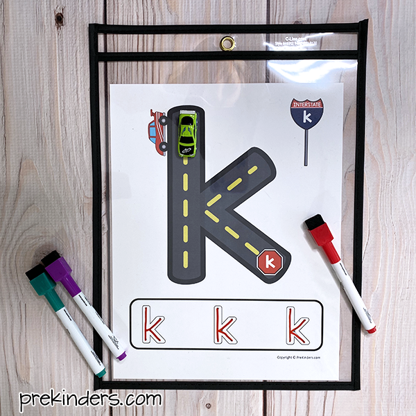 Letter Roads Printable with dry erase